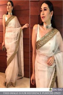 a4fd16347 Karishma White   Golden Color Designer Saree  Bollywoodsaree   bollywoodsalwarsuit  bollywoodanarkali  Bollywoodgowns  bollywoodtunic ...