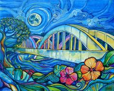 """Rainbow Bridge   Colleen Wilcox  A whimsical interpretation of the famous bridge into Haleiwa on the North Shore of Oahu  Acrylic on Canvas  24""""x30""""  Original: Sold  Prints: Available"""