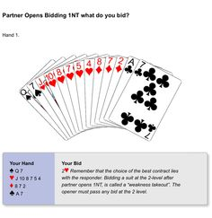BIDDING - Partner opens bidding with 1NT. What do you respond with a hand of 0-10points?
