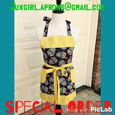 Adult Sugar Skulls Apron! $28 plus shipping  order at juxgirl.aprons@gmail and check out Instagram page at juxgirl.aprons