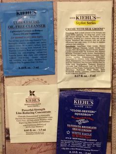 New Kiehl's samples Set of 4 including facial cream, concentrate, and cleanser #Kiehls