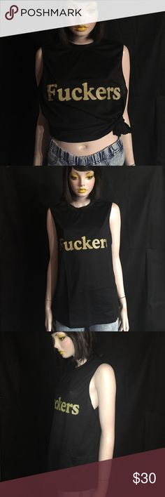 "Fuckers black sleeveless tank top FU punk tank new Black tank with olive letters across that reads fuckers. Speaks for itself! 20"" underarm to underarm, 25"" shoulder to hem. Label reads XL but please go by measurements to ensure proper fit. New without tags Tops Muscle Tees"