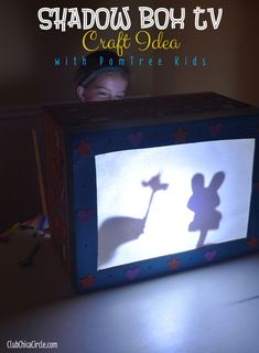 Shadow Box TV Craft Idea with PomTree Kids kits - upcycle a cardboard box, make a shadow box screen with parchment paper, decorate with duct tape, washi tape, and stickers, make paper puppets on stick. Turn off the lights, grab a flashlight and kids can spend our making up their own shadow box tv episodes.