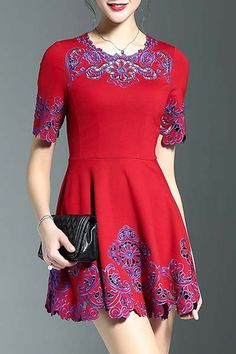 Wordyige Red Fitting Embroidery Round Neck Half Sleeve Dress   Mini Dresses at DEZZAL