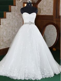 Fantastic Ball Gown Sweetheart Neckline Sweep Train Lace Wedding Dress