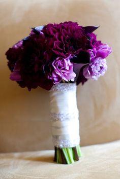 Want this gorgeous bouquet! Plum dahlias, eggplant calla lilies, lavender ranunculus and purple tulips...