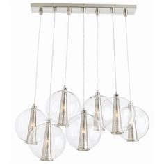 Caviar Fixed Staggered Plshd Nckl/Clr Gls Pendant by Arteriors Home. Elegant fusion of vintage and modern in unique high-end design.