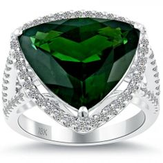 7.95 Ct. Natural Tourmaline & White Diamond Cocktail Fashion Ring 18k White Gold #Rings #Jewelry #Diamondrings | For more beautiful rings see:         http://www.engagement-rings-specialists.com/Diamond-Engagement-Rings.html