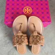 ✨✨{Tory Burch} Amanda Flat Thong Sandals Color: royal tan, gold logo. Brand new in box, never been worn. Please know/be familiar with your own Tory Burch sizing. ❗️Price is firm, even when bundled ❗️   ❌ No Trades/ No PayPal  ❌ No Lowballing  ✅ Bundle Discounts ✅ Ship Same or Next Day  % Authentic Tory Burch Shoes Sandals