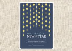 Capiz New Year's Eve Party Invitations...carry garland to doorway decor for the party!