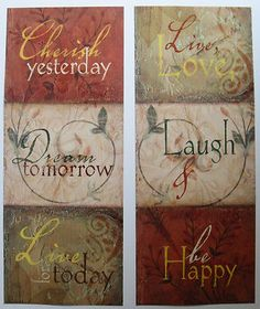 $22.99 Set of 2 Quote Art Prints, Cherish Yesterday & Laugh and be Happy by Tammy Repp