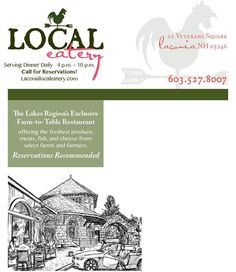 Local Eatery; 21 Veterans Square; Laconia NH; 603-527-8007; Lakes Region; farm-to-table restaurant; local farms and farmers; featured farmer; menu; so good it must be local; Chef Kevin Halligan; historic Laconia train station