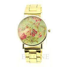Women Rose Flower Geneva Stunning Stainless Steel Quartz Analog New Wrist Watch