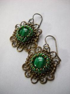 Malachite Beaded Gemstone Earrings Set in Pure Brass