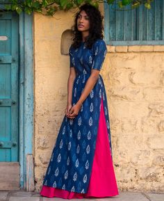 Hand Block Printed Maxi Dress and Cotton Skirt - Mogra Designs Pakistani Dresses, Indian Dresses, Indian Outfits, Indian Attire, Indian Wear, Cotton Skirt, Cotton Dresses, Cotton Fabric, Modest Fashion