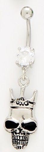 Belly Ring Skull Grinning Teeth Crown Dangle Naval Steel Body Jewelry