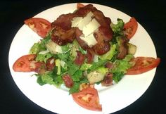 """Today's TGIF lunch feature is a """"PLT"""" Panzanella Salad! Crisp Pancetta, ripe Beefsteak Tomato, Romain Lettuce & Grilled Ciabatta Bread, topped with Parmigiana."""
