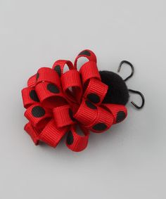 Diy Crafts - -Take a look at this Red Ladybug Loop Clip by Picture Perfect Hair Bows on zulily today! Ribbon Hair Bows, Diy Hair Bows, Bow Hair Clips, Ribbon Art, Ribbon Crafts, Diy Crafts, Barrettes, Hairbows, Ribbon Sculpture