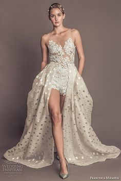 FRANCESCA MIRANDA fall 2016 #bridal gorgeous sleeveless jeweled sheer neckline lace embroidered bodice lace romper with a  line polka dots overskirt style penelope