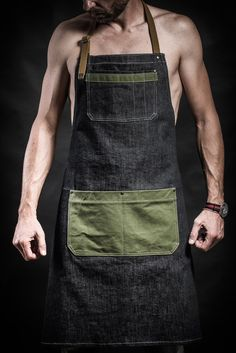 Denim apron with canvas pockets and military belts Work apron by Kruk Garage Barber apron Barista apron Mens gift Birthday gift Restaurant Aprons, Jean Apron, Barber Apron, Military Belt, Work Aprons, Leather Apron, Aprons For Men, Chef Apron, Sewing Aprons