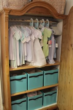 Armoire Idea For Baby. Use Spring Loaded Curtain Rod For Hang Ups.