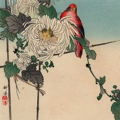 Tsukioka Kôgyo // Chrysanthemums and Red Bird // 1900-10