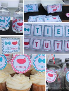 Printed & Assembled Ties or Tutus Gender Reveal Party Decorations Package https://www.etsy.com/listing/208452883/ties-or-tutus-gender-reveal-party