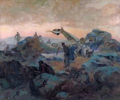 The Bott Incident by Stuart Reid Painted 1918-1920.  The scene of a crashed Nieuport Scout with the aircraft lying upside-down in a rocky landscape. There are several Arabs armed with rifles standing in front of the plane, and another wielding a knife over Lieutenant Alan Bott in the cockpit. In the background a contingent of Turkish troops are arriving at the scene, to save the pilot.