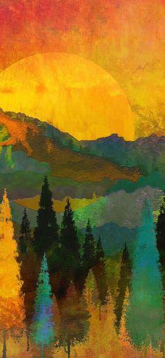 1125x2436 Sunset, forest, tree, illustration, art wallpaper Cool Wallpaper, Wallpaper Backgrounds, Amoled Wallpapers, Graffiti, Art Addiction, Call Art, Tree Illustration, Amazing Art, Awesome