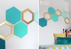 DIY honeycomb wall >>>  gold and turquoise