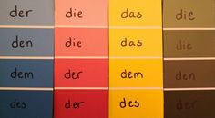 Paint chips to organize the Der, Die, Das chart. I made a larger one that I framed, so I can write on it in dry erase marker, then wipe away for test days!