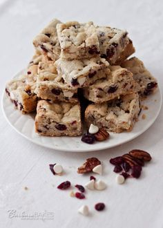 White Chocolate Cranberry Pecan Bars - from @Barbara Schieving {Barbara Bakes}
