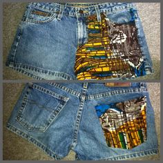 DIY short designs! I just add a piece if African fabric to a pair if shorts !