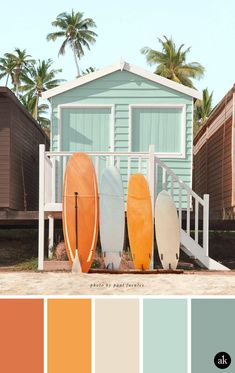 a beach-house-inspired-color-palette // burnt orange, tangerine, sand, faded aqua // photo by Paul Fuentes aesthetic orange a beach-house-inspired color palette — Creative brands for creative people // Akula Kreative Beach Color Palettes, Color Schemes Colour Palettes, Colour Pallette, Beach Color Schemes, Orange Color Schemes, Orange Color Palettes, Vintage Color Schemes, Orange Palette, House Color Palettes
