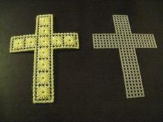 Plastic Canvas Crosses Plastic Canvas Ornaments, Plastic Canvas Crafts, Plastic Canvas Patterns, Tissue Box Covers, Tissue Boxes, Cross Crafts, Church Crafts, Crochet Cross, Canvas Designs