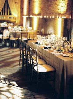 Idea 2: Soft loft - take a really hard venue and soften it up with lighting, ruffles, and super feminine details. The interest in the contrast.