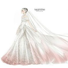 Valentino's sketch for Anne Hathaway's wedding dress! The strapless ivory silk point d'esprit tulle wedding gown features a romantic train, which was embroidered with satin flowers and hand-painted a soft pink hue.