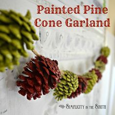 Need a last minute Christmas decorating idea? Spray painted pine cones, twine and hot glue make this garland an inexpensive and colorful addition to your holiday decor.