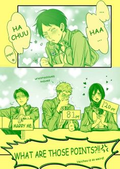Hehehehhehehehe xDD Levi x Eren/Jean - Eren/ Eren x Mikasa - Shingeki no Kyojin. I say levi gets him. Eren E Levi, Eren X Mikasa, Attack On Titan Meme, Attack On Titan Ships, Ereri, Manga Japan, Hiro Big Hero 6, Anime Ships, Hilarious