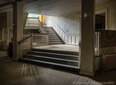 Fine art photographs of the interior of St. Katherine's Academy, an abandoned convent and girl's school. Photographs by Matthew Christopher Murray of abandoned america Abandoned Buildings, Abandoned Places, Saint Katherine, School's Out Forever, Matthew Christopher, School Building, Aesthetic Pictures, Stairs, America