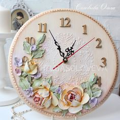 Новости Plaster Crafts, Tile Crafts, Carved Wood Wall Art, 3d Wall Art, Plaster Sculpture, Sculpture Painting, Cold Porcelain Flowers, Ceramic Flowers, Clock Flower