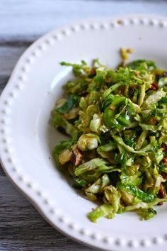 Caramelized Brussels Sprouts-12-14 lg brussels sprouts sliced thin, saute 1 lg garlic clove, add sprouts 4-5 mins., add salt and 2 TBS brown sugar, top with pecans or walnuts