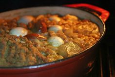 Kigal of Cholent (Kishke) - the ever expanding Shabbat casserole - don't forget the eggs
