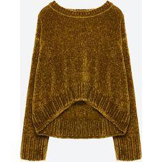 СВИТЕР ИЗ СИНЕЛИ СО СБОРКОЙ ПО НИЗУ - Просмотреть все-ТРИКОТАЖ-ЖЕНЩИНЫ... (€45) ❤ liked on Polyvore featuring sweaters, zara, chenille sweater, brown sweater and brown tops