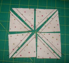 Eight half square triangles in one go. Includes formula for sizes..