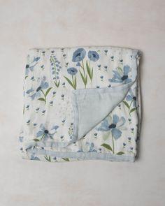 Deluxe Muslin Quilt - Blue Windflower- https://littleunicorn.com/products/deluxe-quilt-blue-windflower