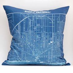 vintage DETROIT map pillow DIY kit, 16x16 envelope style, made to order