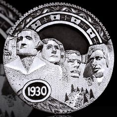 ANDY GONZALES HOBO NICKEL - RUSHMORE - 1930 BUFFALO NICKEL Hobo Nickel, Coin Art, Us Coins, Road Trip Usa, Coin Collecting, Caricature, Making Out, Knight, Carving
