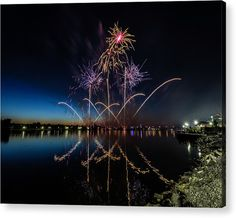 Color Splash Acrylic Print featuring the photograph Fireworks 14 by Tom Clark