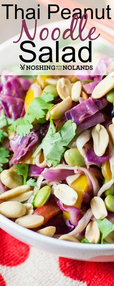 Thai Peanut Noodle Salad by Noshing With The Nolands is a great summer salad that is we made gluten free but it is also vegan.